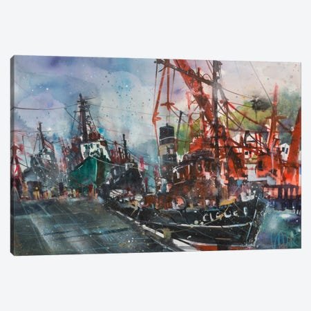 Hamburg Harbour Canvas Print #AMN3} by Andreas Mattern Canvas Print