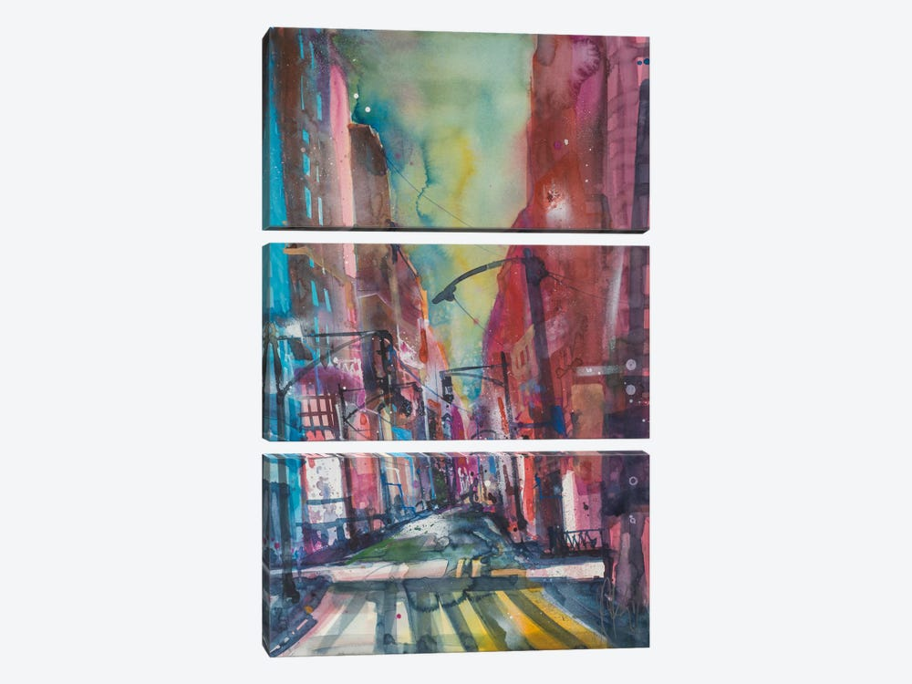 New York Aquarel I by Andreas Mattern 3-piece Canvas Artwork