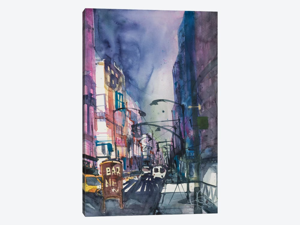 New York Aquarel II by Andreas Mattern 1-piece Canvas Art Print