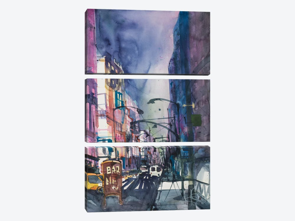 New York Aquarel II by Andreas Mattern 3-piece Canvas Print
