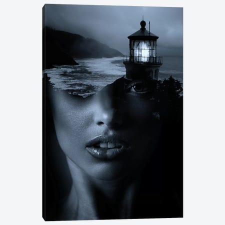 Lighthouse Blue Canvas Print #AMR30} by Tatiana Amrein Art Print