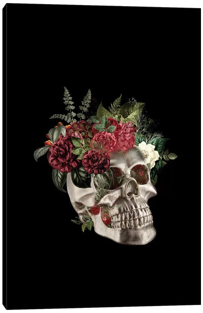 Skull Flowers Canvas Art Print