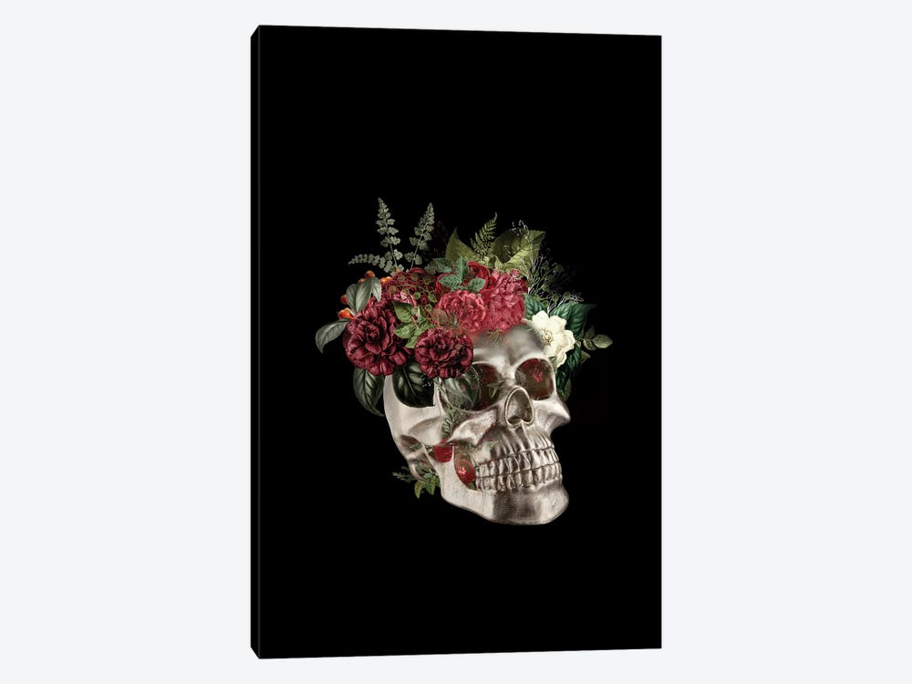 Skull Flowers by Tatiana Amrein 1-piece Canvas Artwork
