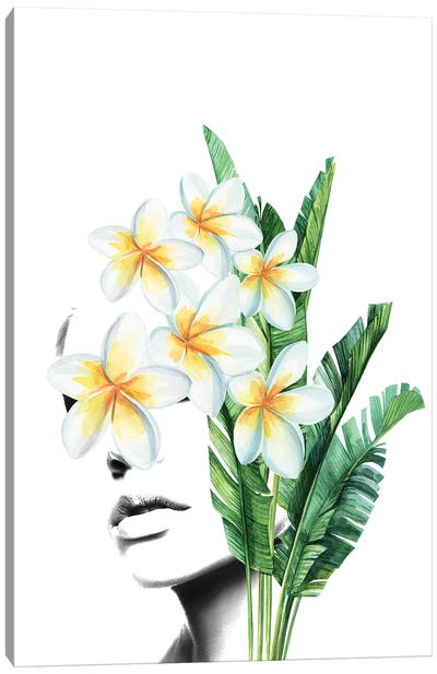 Frangipani Woman Canvas Art Print
