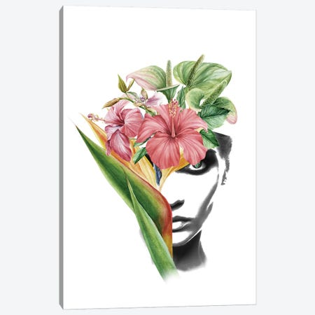 Hibiscus Lady Canvas Print #AMR85} by Tatiana Amrein Canvas Art Print