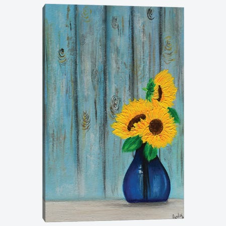 Sunflowers In Blue Vase Canvas Print #AMT14} by Amita Dand Canvas Art