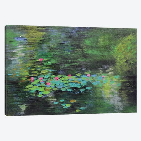 Forest Water Lilies Pond Canvas Print #AMT26} by Amita Dand Canvas Art Print