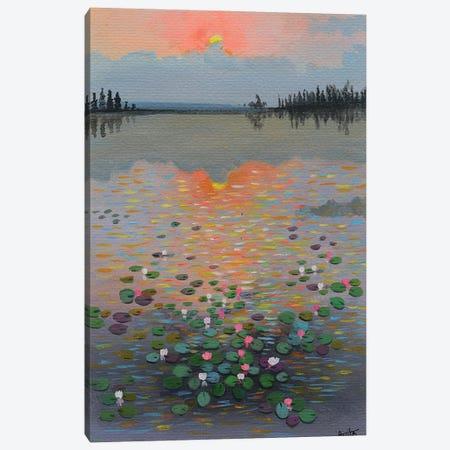 Water Lilies At Sunrise I Canvas Print #AMT33} by Amita Dand Art Print