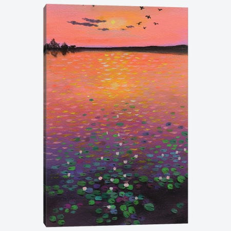 Water Lilies At Sunset Canvas Print #AMT34} by Amita Dand Canvas Artwork