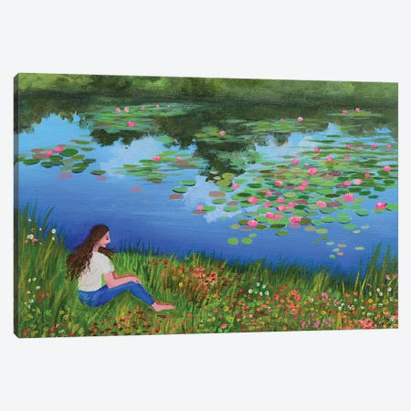 Girl Sitting By The Pond Canvas Print #AMT40} by Amita Dand Canvas Wall Art