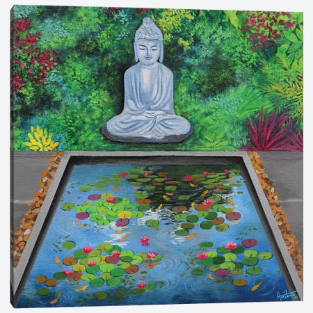 Buddha By The Pond Canvas Print #AMT46} by Amita Dand Canvas Art Print
