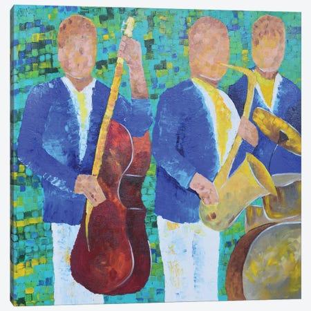 Blue Music Band! Jazz Band Canvas Print #AMT58} by Amita Dand Art Print