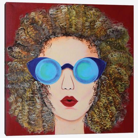 Curly Hair Blonde Canvas Print #AMT59} by Amita Dand Art Print