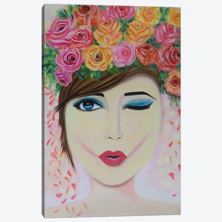 Wink Girl Canvas Print #AMT60} by Amita Dand Canvas Artwork