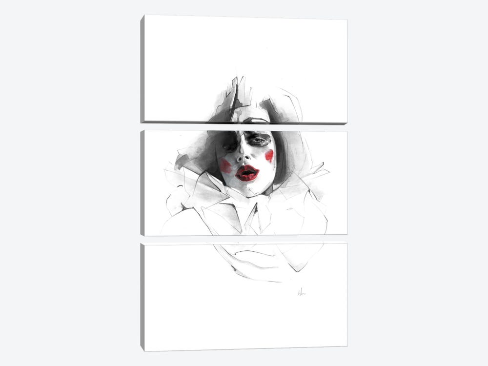Red Lips by Alexis Marcou 3-piece Canvas Art Print