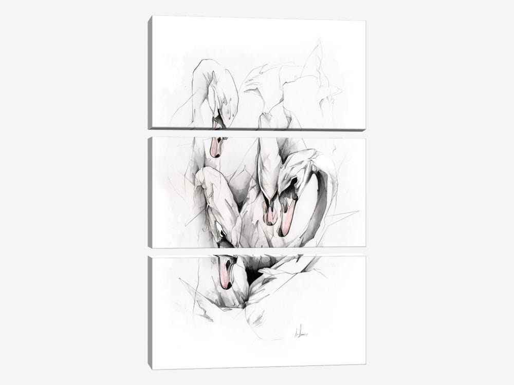Swans by Alexis Marcou 3-piece Canvas Print