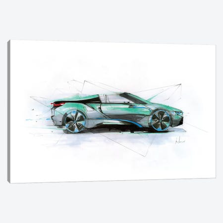 I8 Green Profile Canvas Print #AMU59} by Alexis Marcou Canvas Wall Art