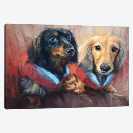 Two Dachshunds Canvas Print #AMV21} by Alex Movchun Canvas Artwork