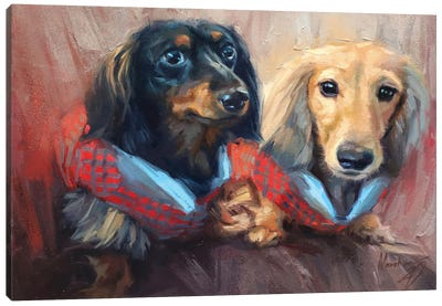 Two Dachshunds Canvas Art Print