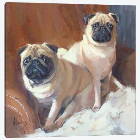 Two Pugs Canvas Print #AMV25} by Alex Movchun Canvas Print