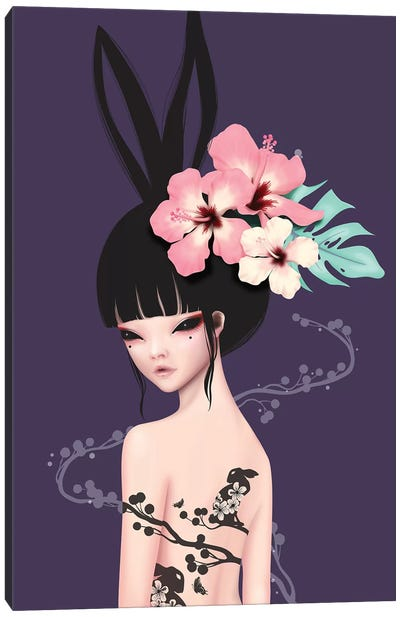 Black Bunny Canvas Art Print