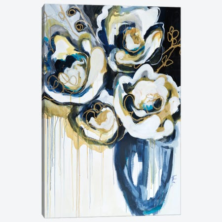 Blooms In Sea Foam Canvas Print #AMZ2} by Angela Maritz Canvas Wall Art