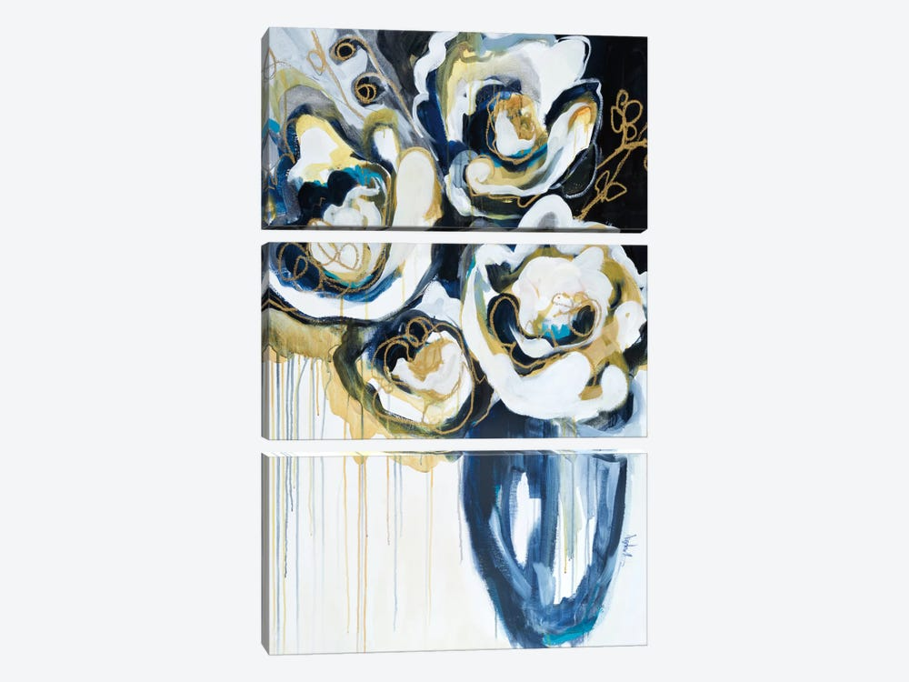 Blooms In Sea Foam 3-piece Canvas Wall Art