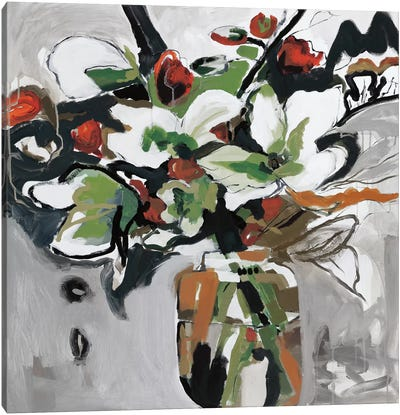 Blooms Of Smokey Grey Canvas Art Print