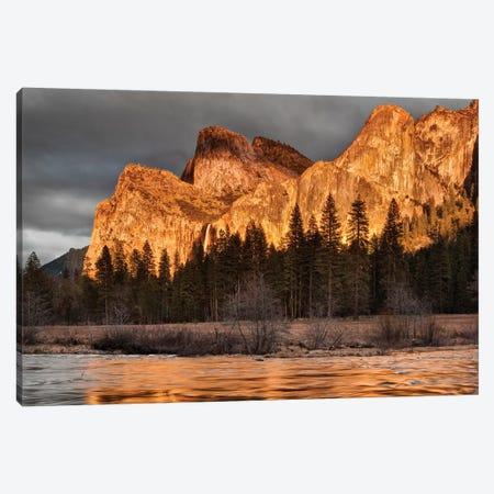 USA, California, Yosemite National Park, Bridalveil Falls at sunset I Canvas Print #ANC10} by Ann Collins Canvas Wall Art
