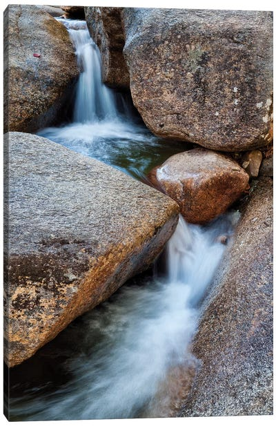USA, New Hampshire, White Mountains, Lucy Brook flows past granite rock II Canvas Art Print