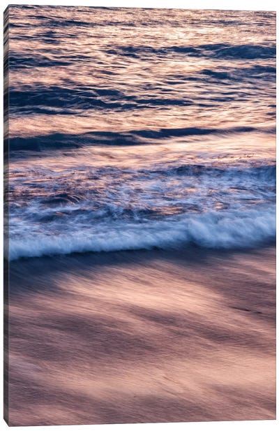 USA, California, La Jolla, Sunset color reflected in waves at Windansea Beach Canvas Art Print