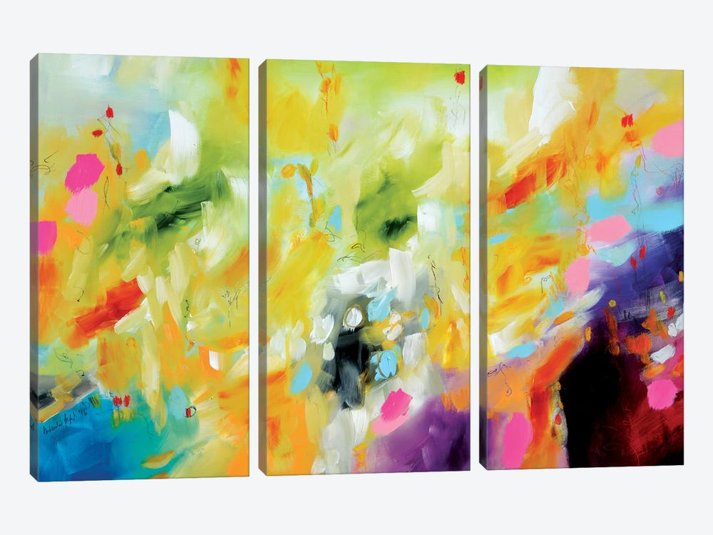 Garden Of Delights Series: Cotton Candy Nursery by Andrada Anghel 3-piece Canvas Print