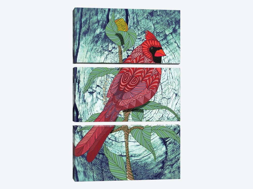 Virginia Cardinal by Angelika Parker 3-piece Art Print