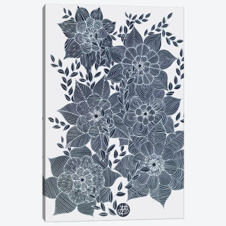 Zentangled Flowers I Canvas Print #ANG108} by Angelika Parker Canvas Art Print