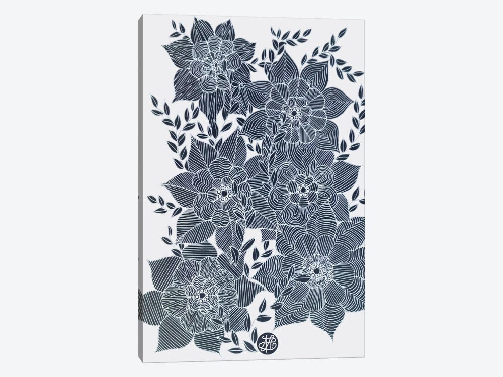 Zentangled Flowers I by Angelika Parker 1-piece Canvas Wall Art
