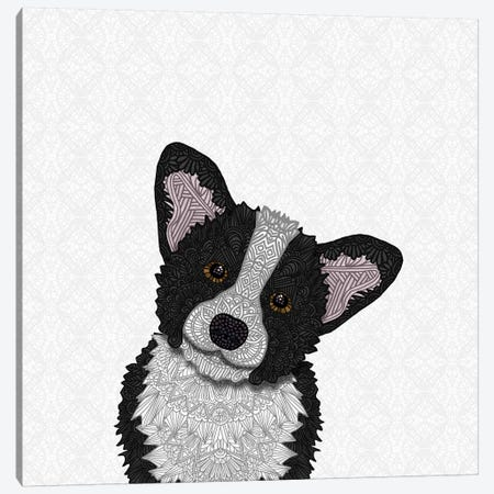 Black Corgi Canvas Print #ANG113} by Angelika Parker Canvas Artwork
