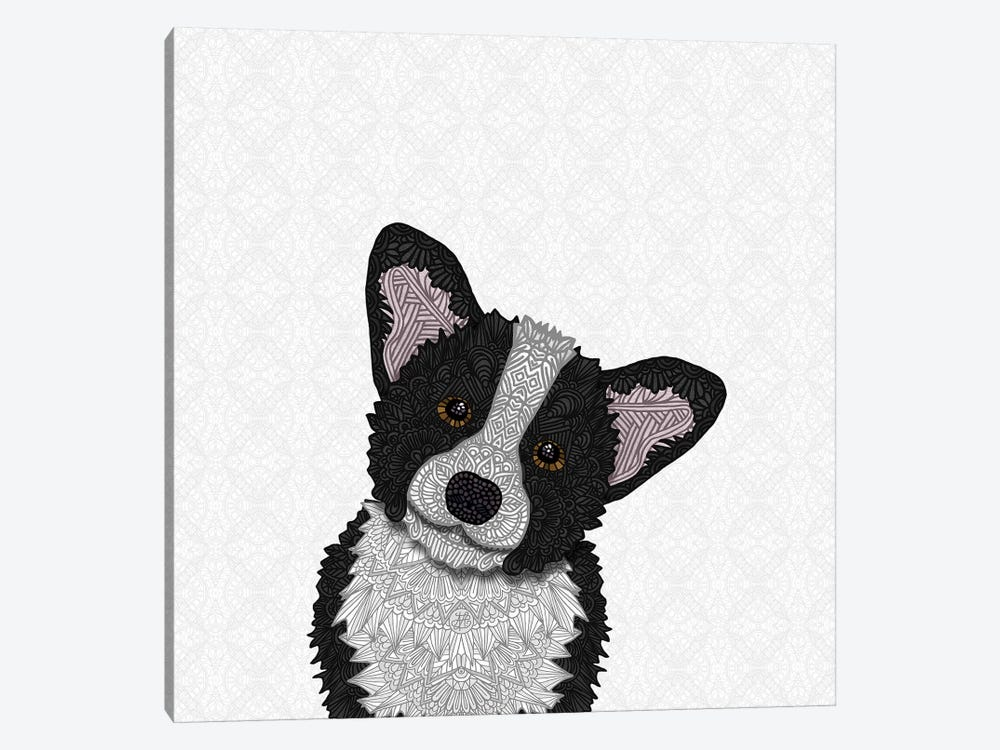 Black Corgi 1-piece Canvas Wall Art