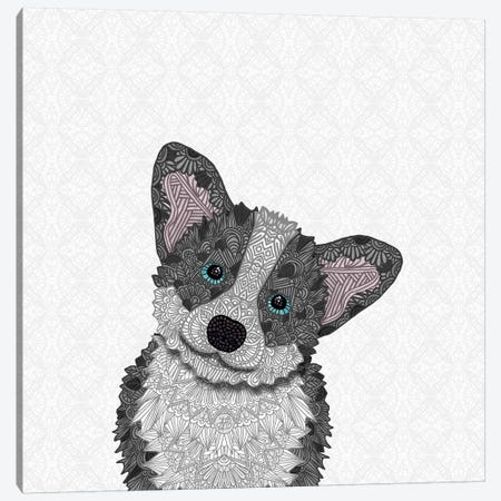 Blue Corgi Canvas Print #ANG114} by Angelika Parker Canvas Art Print