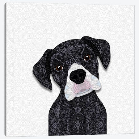Cute Black Boxer Canvas Print #ANG129} by Angelika Parker Art Print