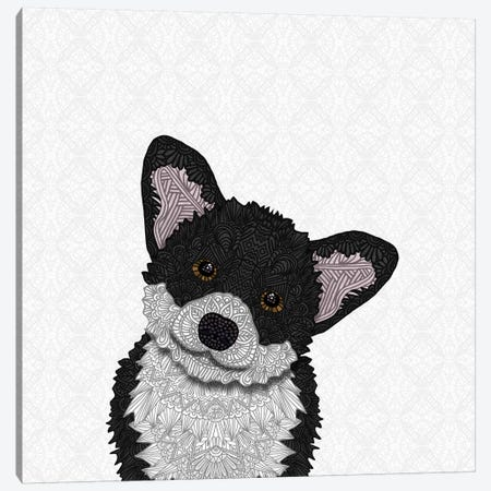 Cute Black Corgi Canvas Print #ANG130} by Angelika Parker Canvas Wall Art
