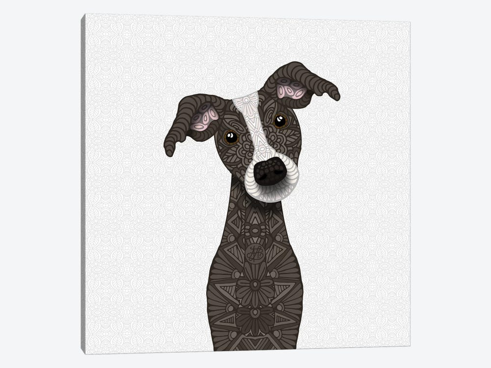 Cute Brindle Iggy Dog by Angelika Parker 1-piece Canvas Artwork