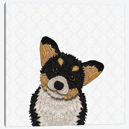 Cute Tri-Colored Corgi Canvas Print #ANG143} by Angelika Parker Art Print
