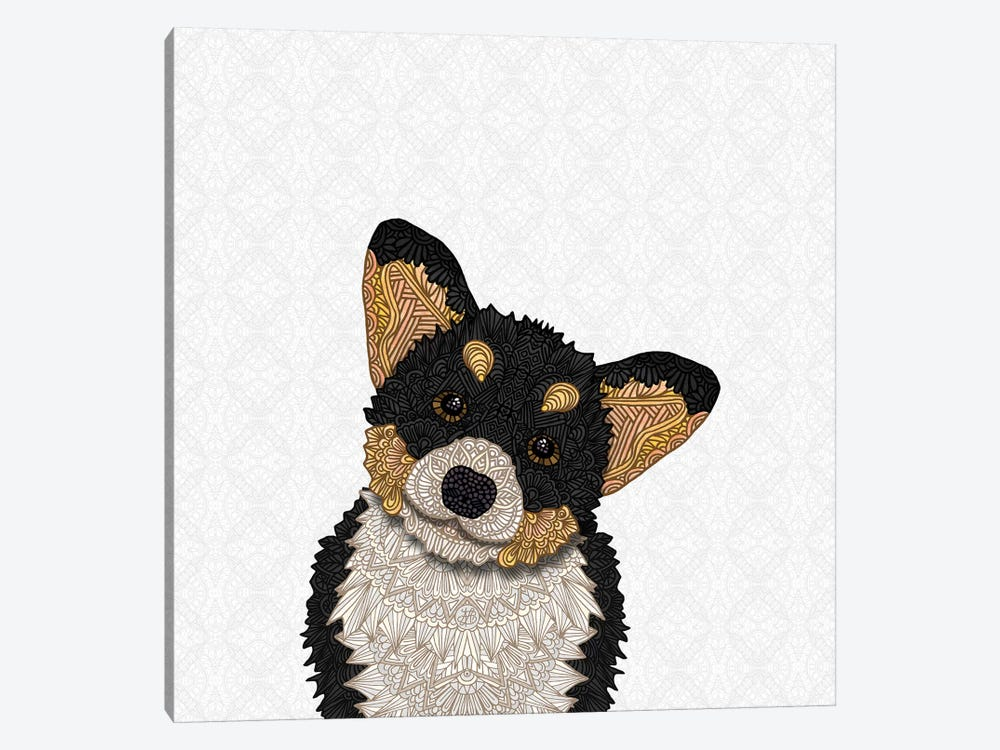 Cute Tri-Colored Corgi by Angelika Parker 1-piece Canvas Print