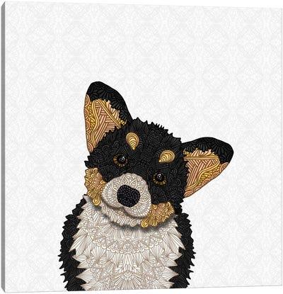 Cute Tri-Colored Corgi Canvas Art Print
