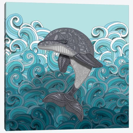 Dolphin Canvas Print #ANG144} by Angelika Parker Canvas Art