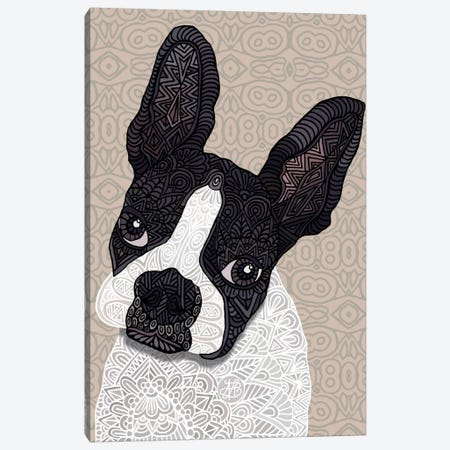 Bosten Terrier 3-Piece Canvas #ANG14} by Angelika Parker Art Print