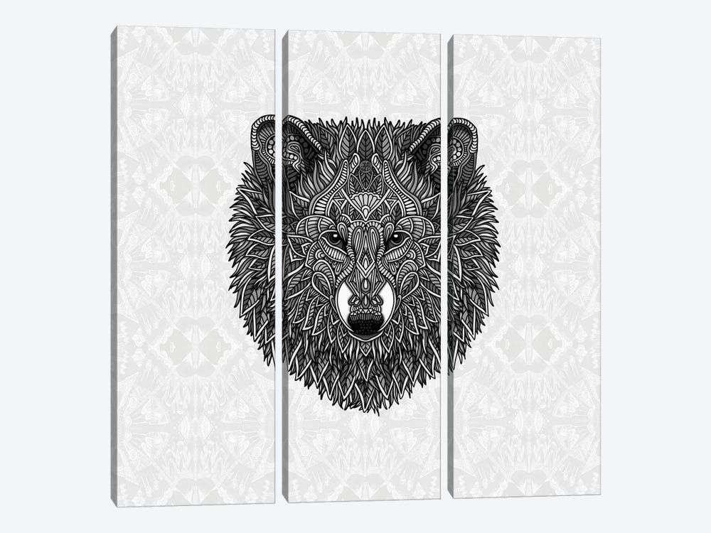 Gray Wolf by Angelika Parker 3-piece Canvas Artwork