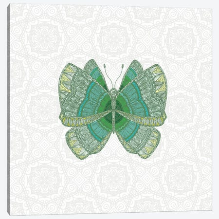 Green Butterfly Canvas Print #ANG156} by Angelika Parker Canvas Print