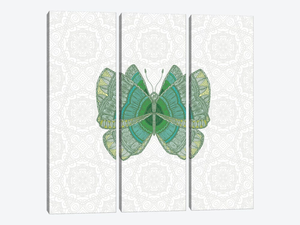 Green Butterfly by Angelika Parker 3-piece Art Print