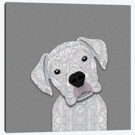 White Boxer Canvas Print #ANG179} by Angelika Parker Canvas Wall Art